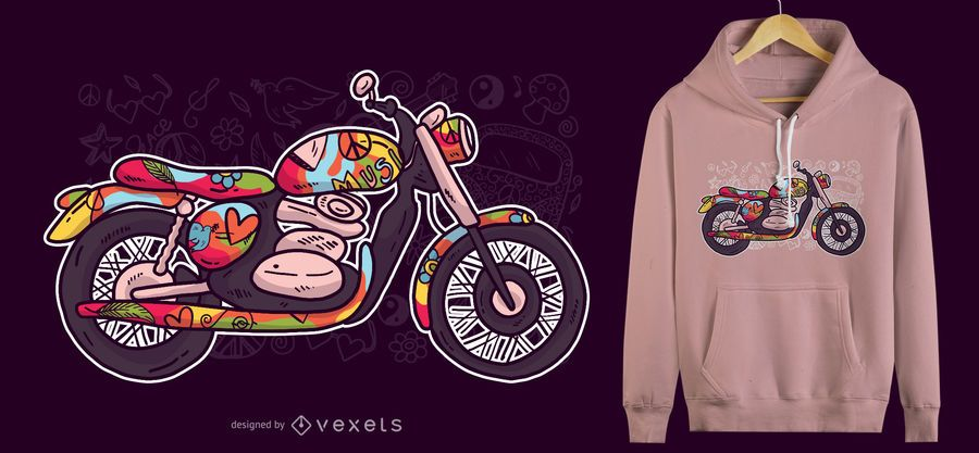 Hippie Motorcycle T-Shirt Design