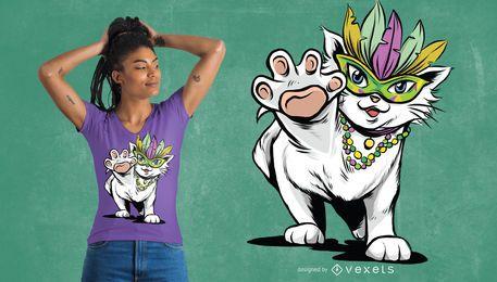 Diseño de camiseta de gato Mardi Gras