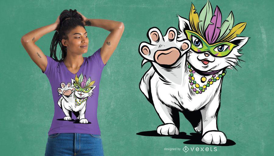 Design do t-shirt do gato do carnaval