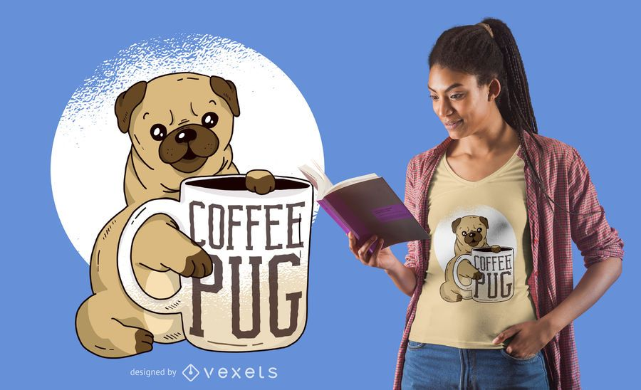 Diseño de camiseta Pug with Coffee