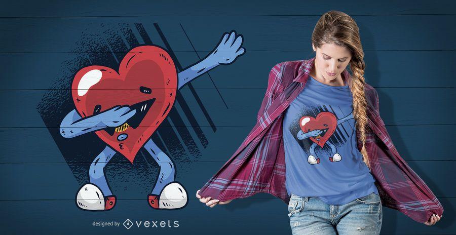 Diseño de camiseta de Dabbing corazón