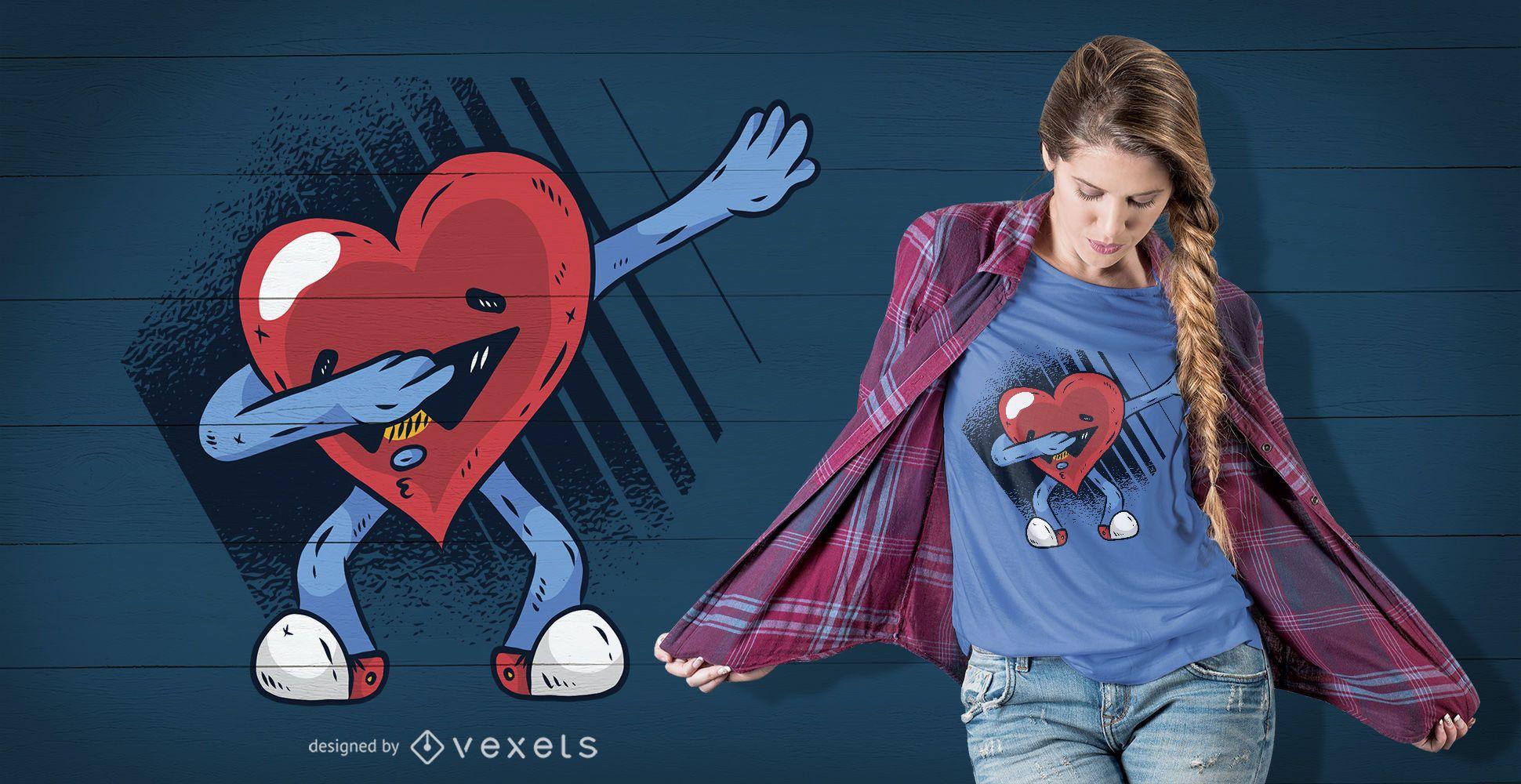 Diseño de camiseta Heart Dabbing