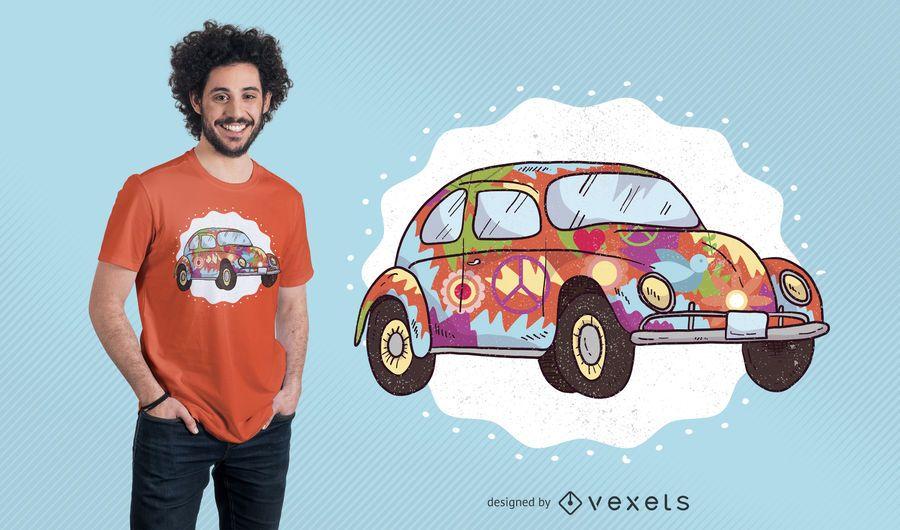 Design de camiseta de carro hippie