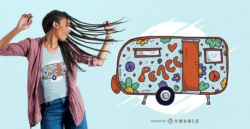 Diseño de camiseta Hippie Trailer Home