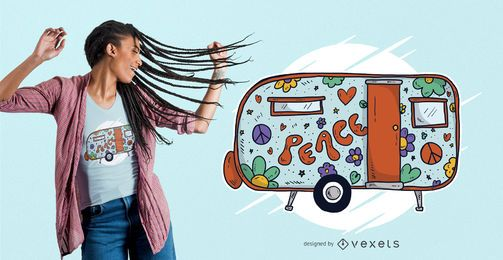 Hippie Trailer Home camiseta diseño