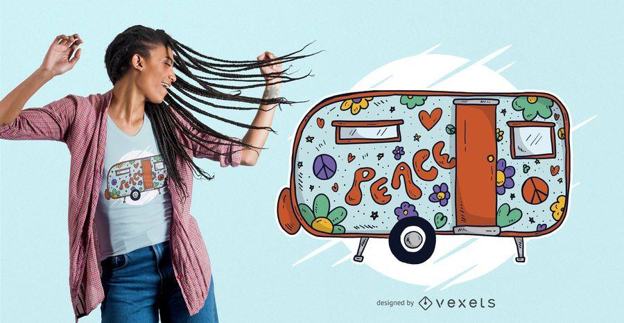 Hippie Trailer Home camiseta diseño