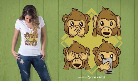 Projeto do t-shirt do telefone do macaco