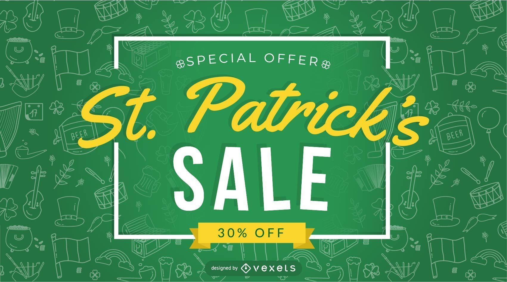 Diseño de oferta especial de venta de San Patricio