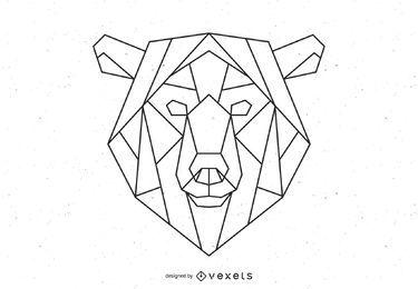Ilustração de traçado de urso poligonal