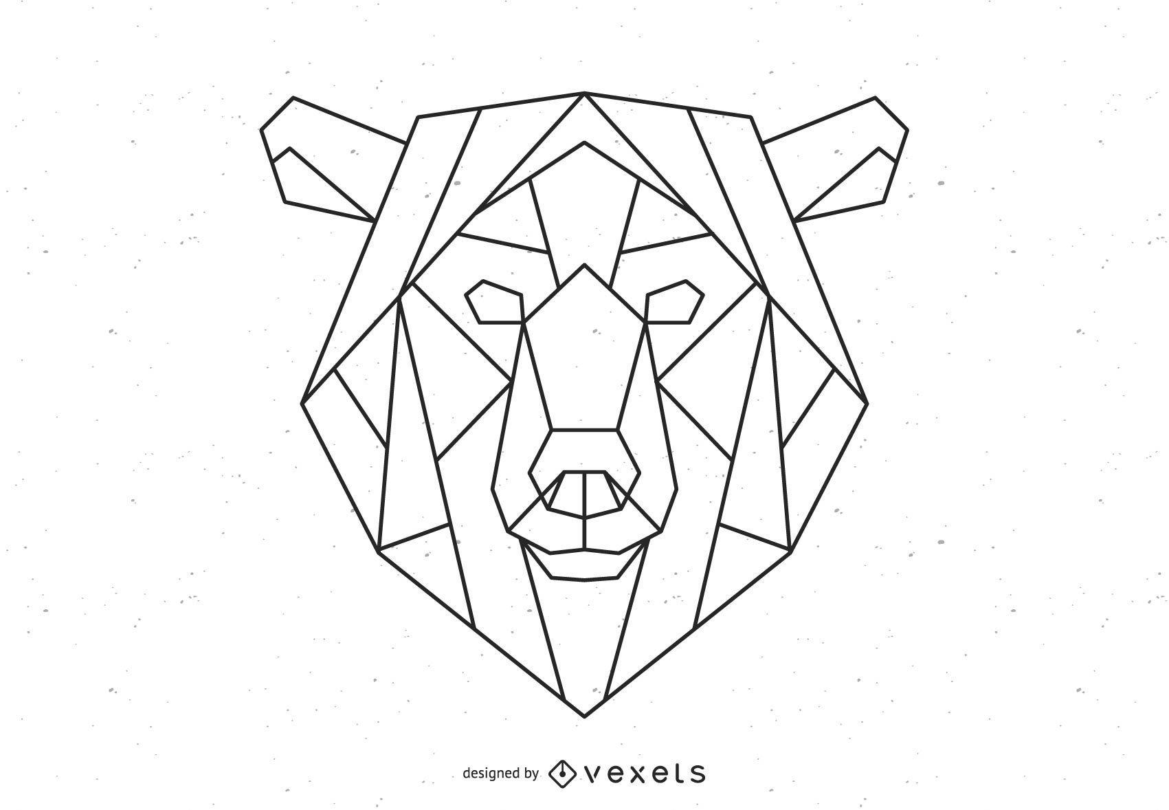 Ilustración de trazo de oso poligonal