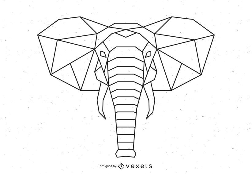 Polygonal Elephant Vector Design
