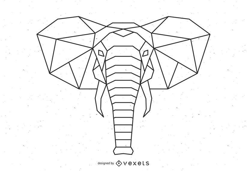 Projeto de vetor de elefante poligonal