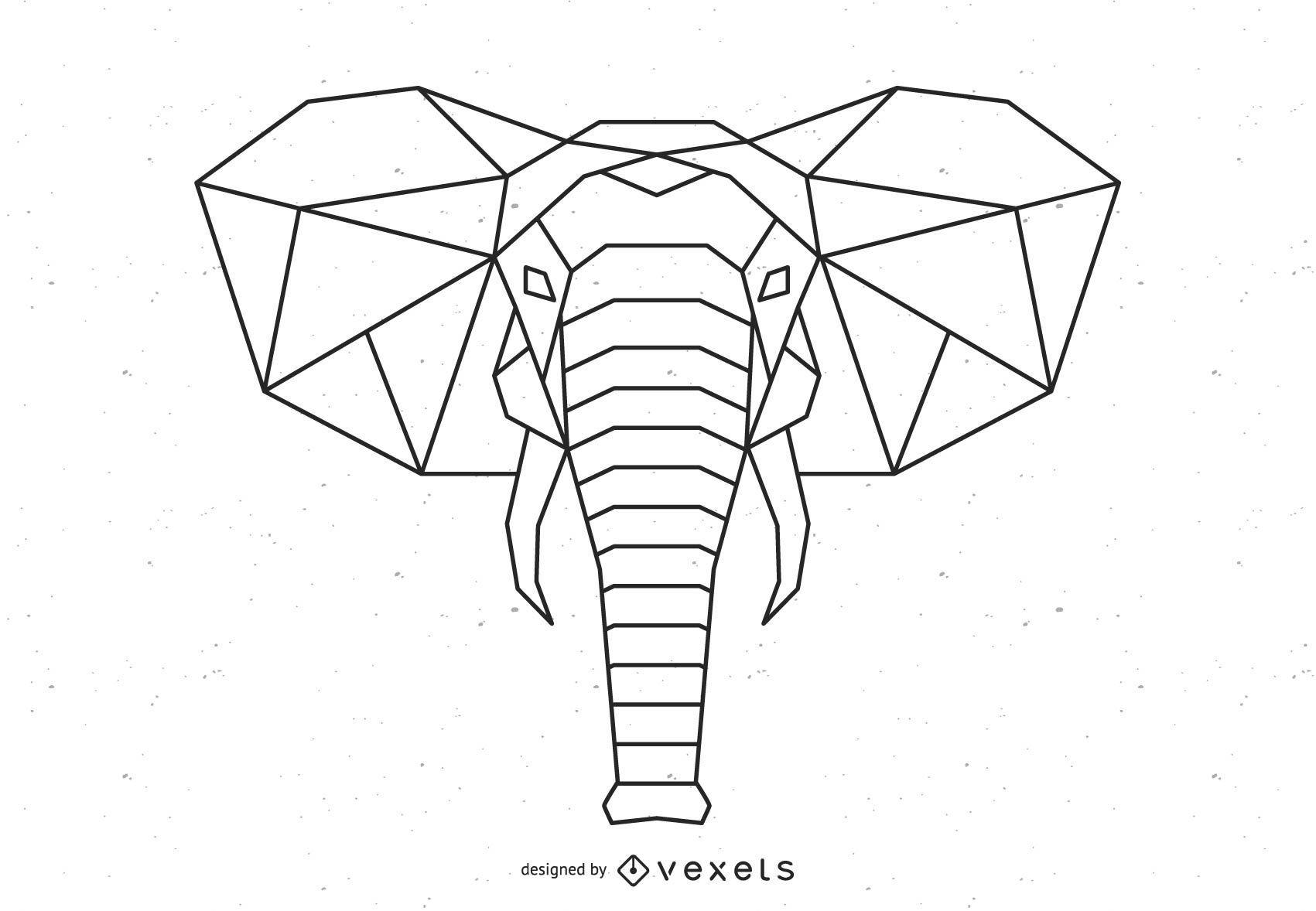 Diseño de vector de elefante poligonal