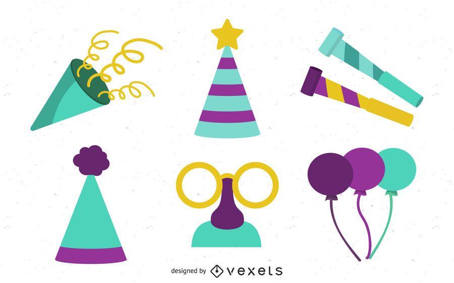 Conjunto de ícones de elementos de festa