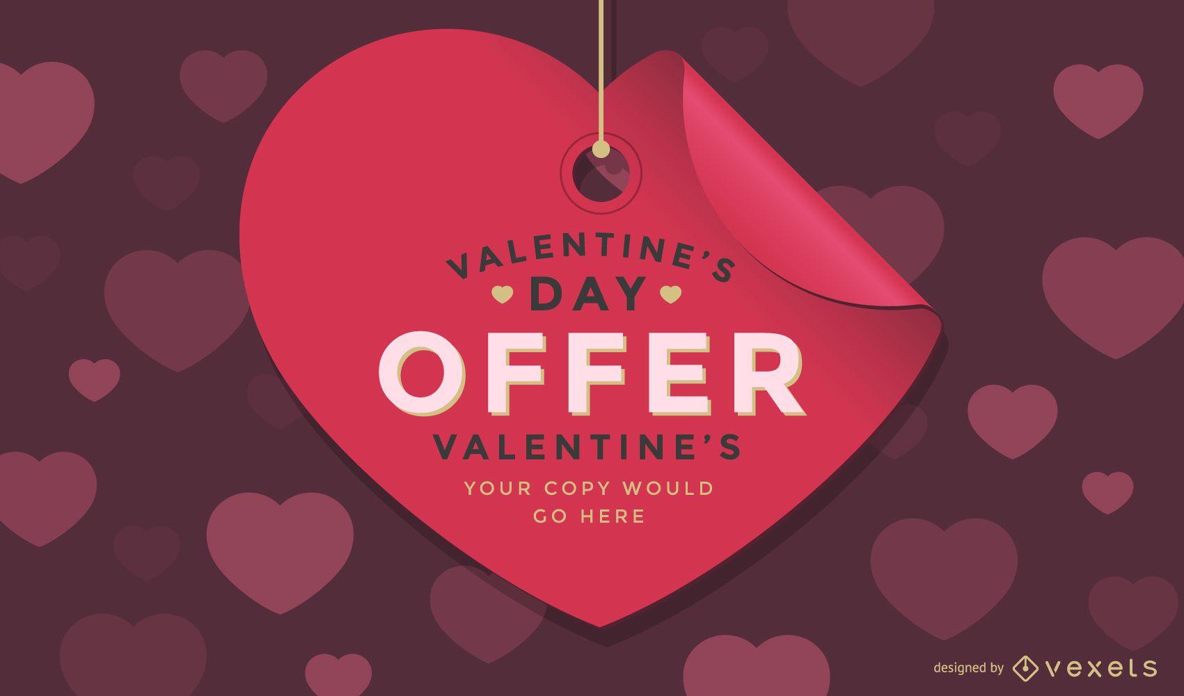 Diseño de etiqueta de venta de San Valentín