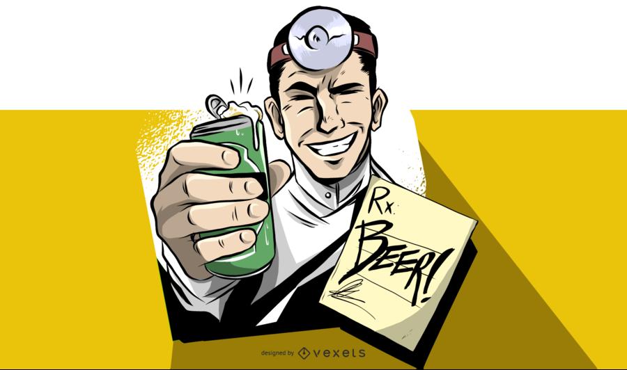 Doctor vintage con ilustración de cerveza