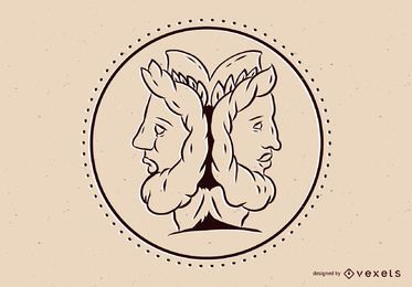 Dios griego, ilustración de janus