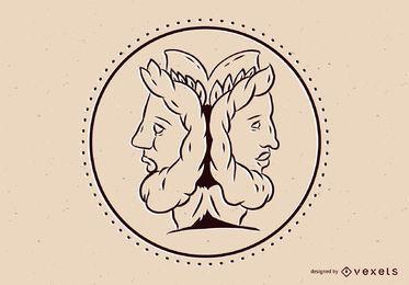 Greek God Janus Illustration