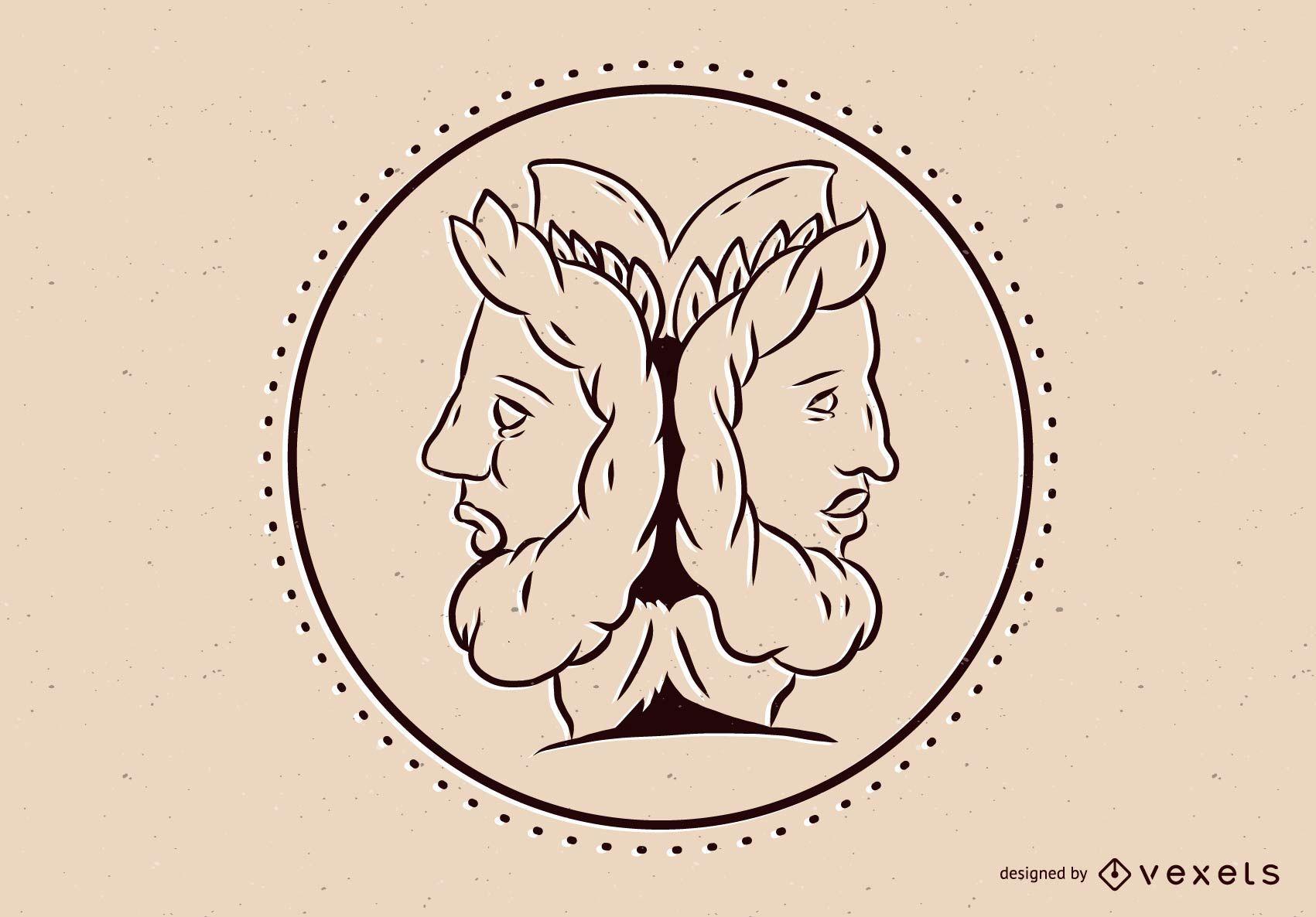 Ilustración del dios griego Janus