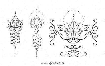Conjunto de diseño de tatuaje Unalome