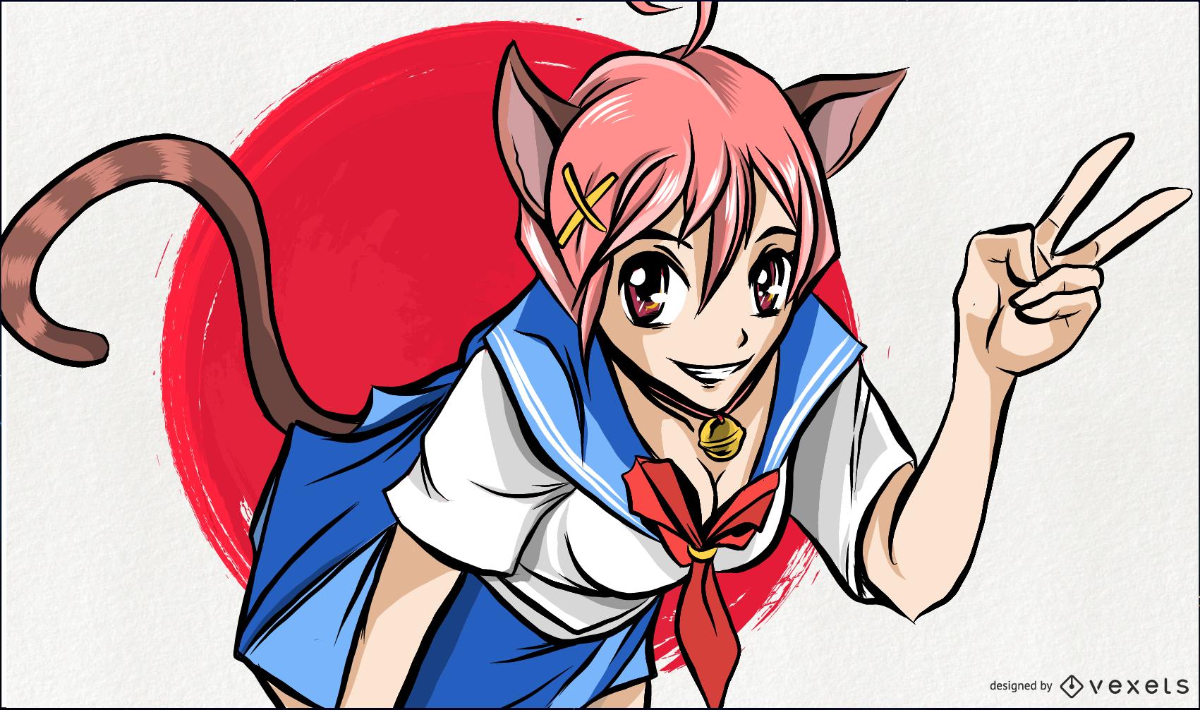 Anime Cat Girl Illustration
