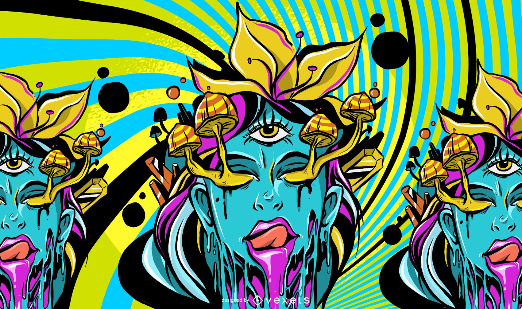 Trippy Mushroom Girl Illustration