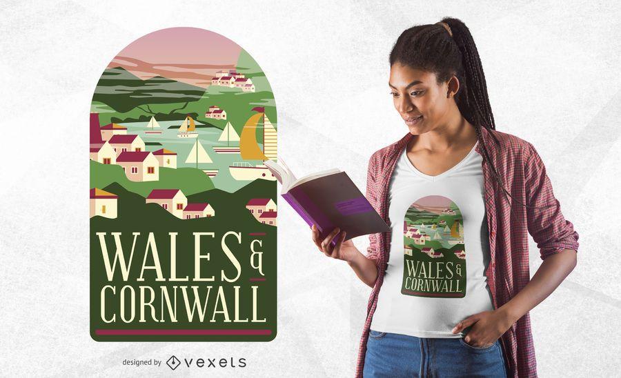 Projeto do t-shirt de Wales & de Cornualha