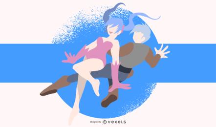Ilustración de personajes de anime saltando