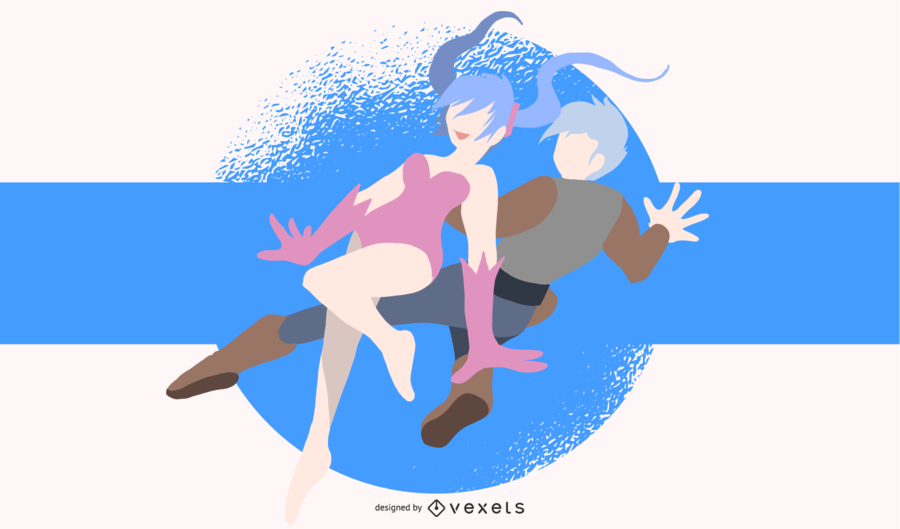 Jumping Anime Characters Illustration