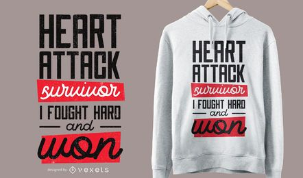 Diseño de camiseta de sobreviviente de ataque al corazón