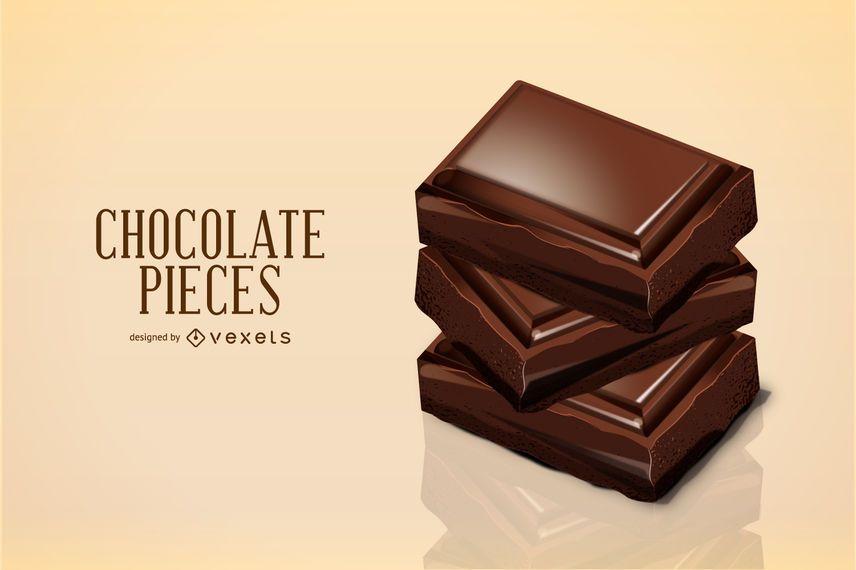 Ilustração de pedaços de chocolate 3D