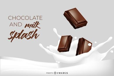 Chocolate and Milk Splash 3D Illustration
