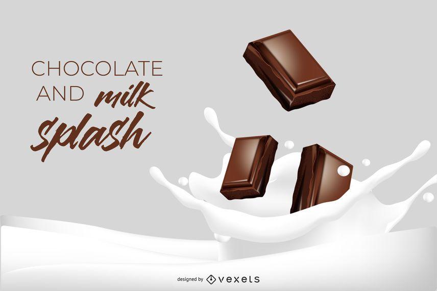 Ilustración de salpicaduras de chocolate y leche en 3D