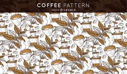 Patrón de café sin costura