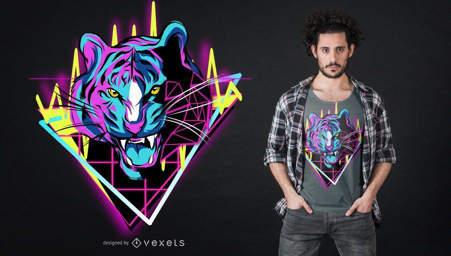 Diseño de camiseta de neón tigre