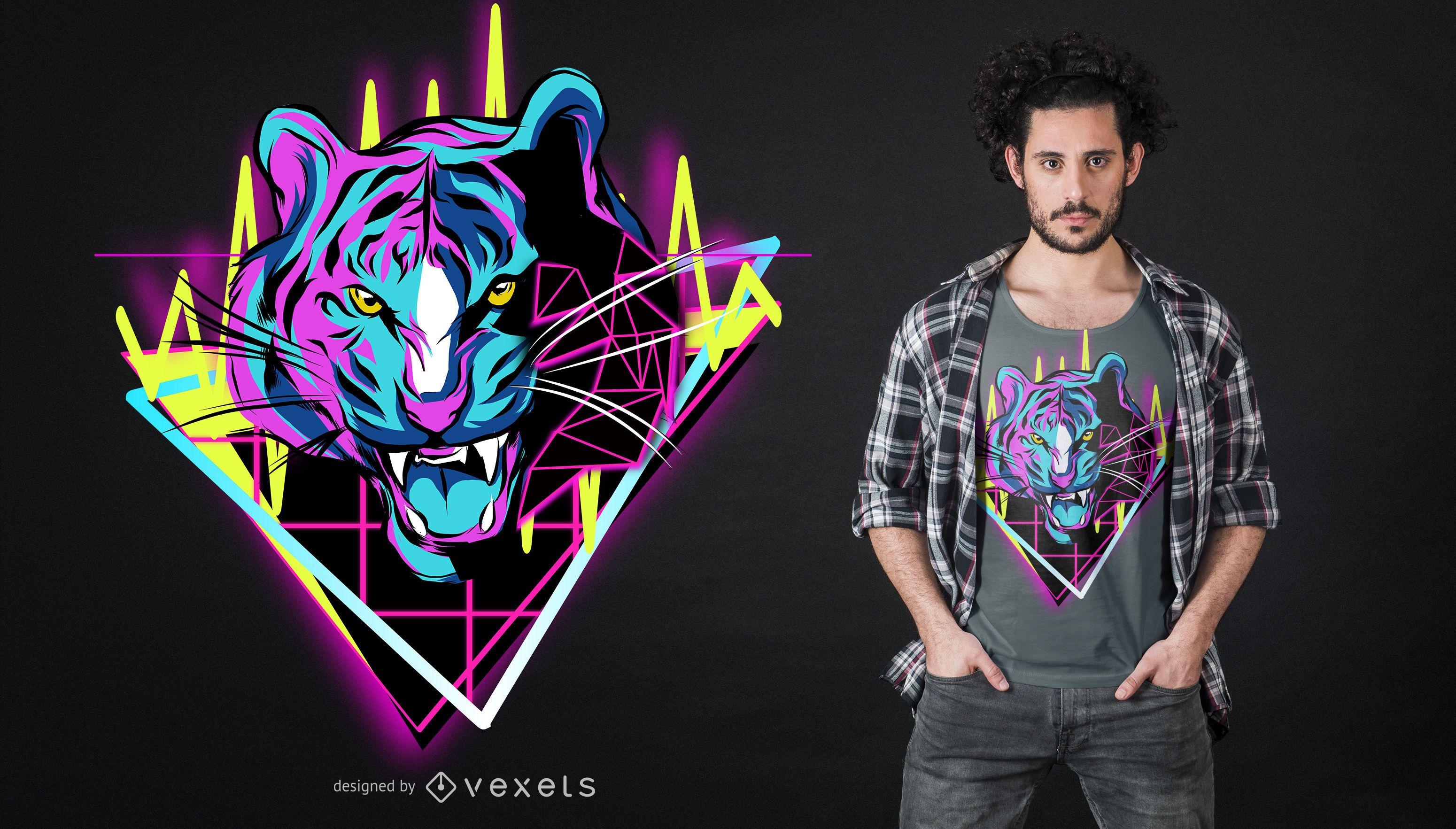 Diseño de camiseta Neon Tiger