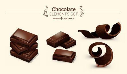 Conjunto de elementos de chocolate