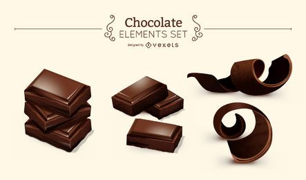 Set of chocolate elements