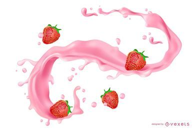 Strawberry Juice Splash Illustration
