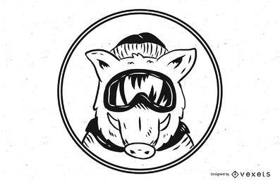 Ilustração de máscara de esqui por porco selvagem