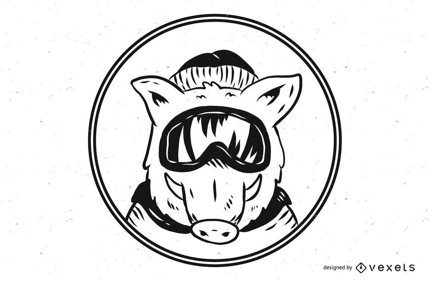 Ski Mask Wild Boar Pig Illustration