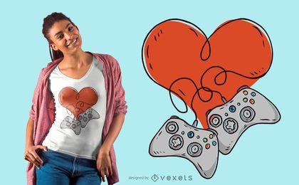 Diseño de camiseta Gamer Love