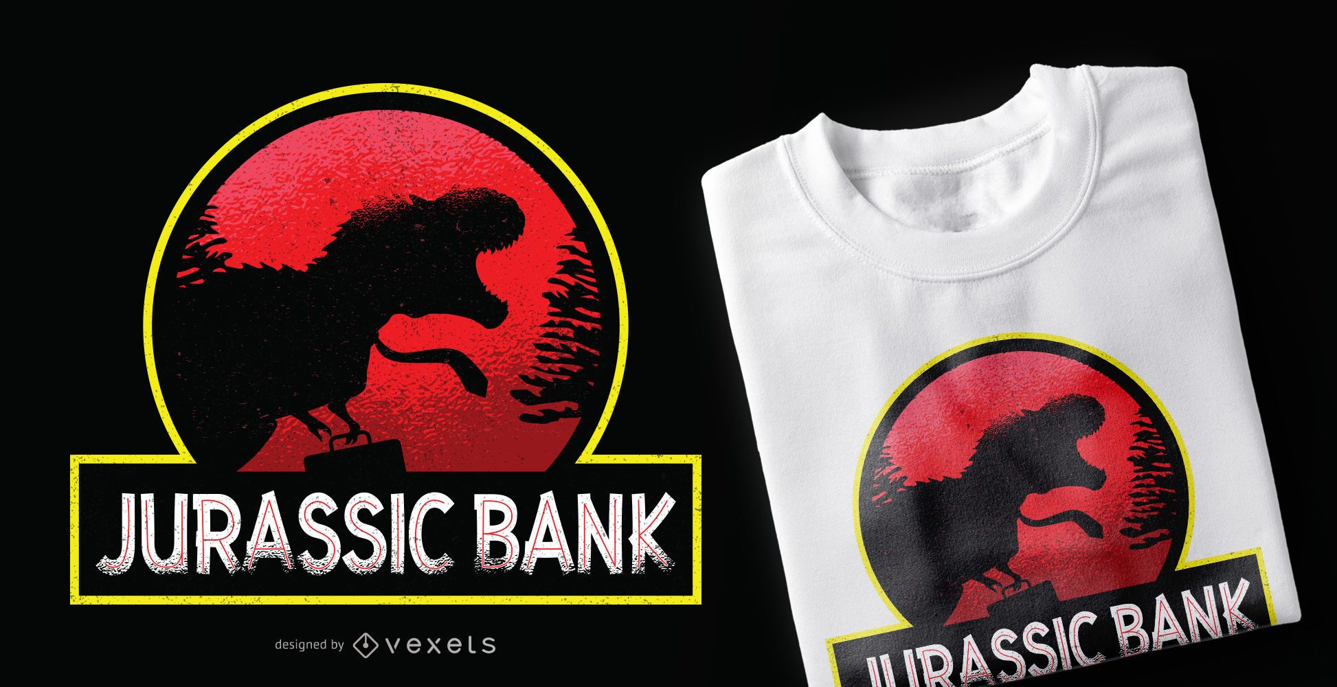 Design de camisetas do Jurassic Bank