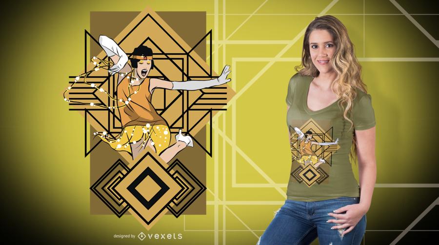 Projeto do t-shirt do dançarino dos anos 20
