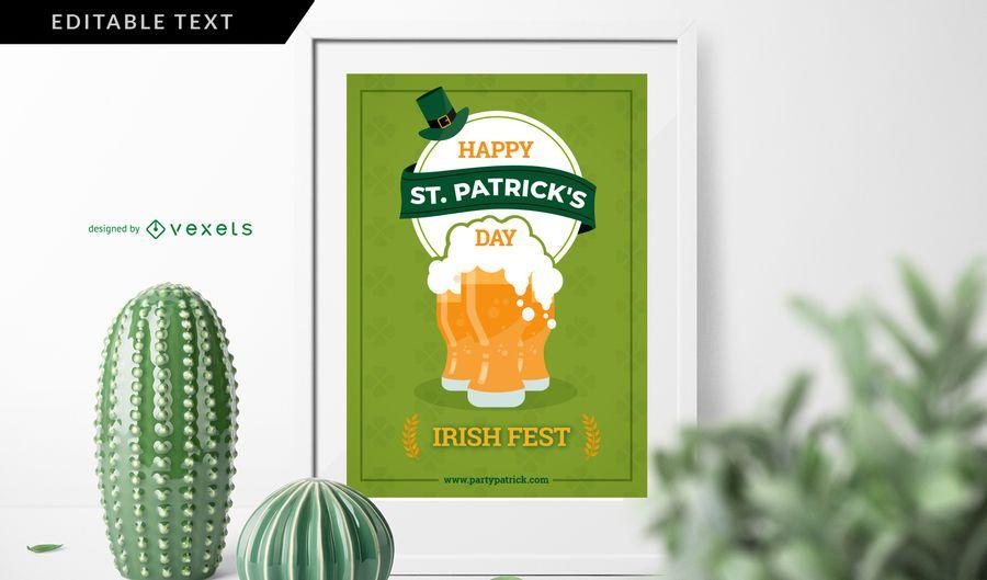 Cartel irlandés del festival del día de San Patricio
