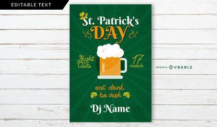 Cartaz do partido do dia de Patrick de Saint