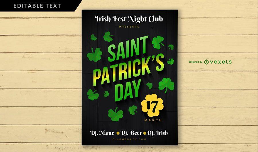 Cartel del club irlandés del día de San Patricio