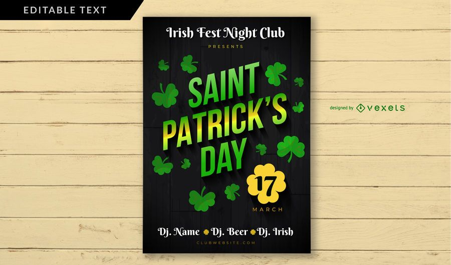 Saint Patrick's Day Irish Club Poster