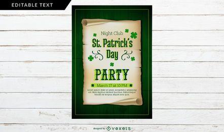 Diseño del cartel del partido del día de San Patricio
