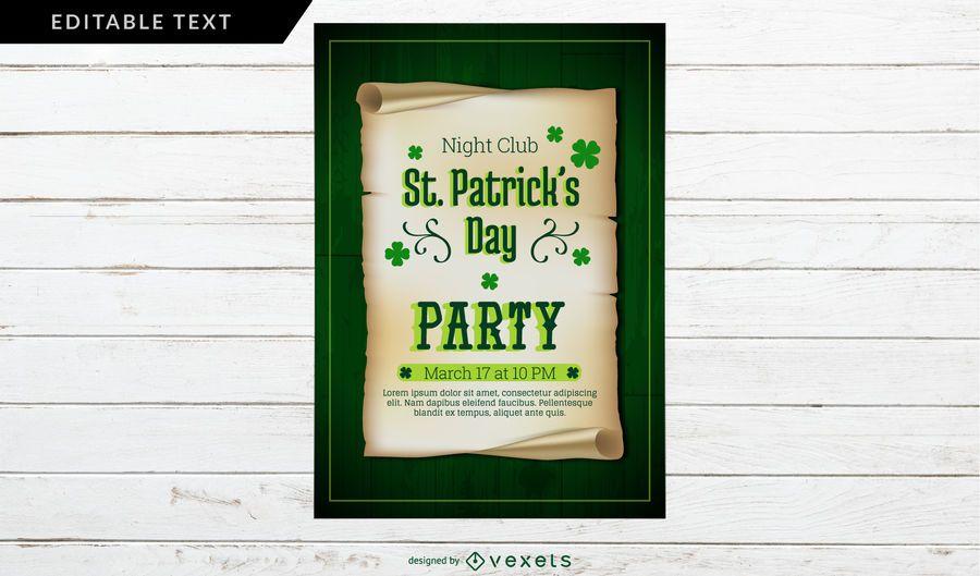 Design de cartaz de festa do dia de São Patrício